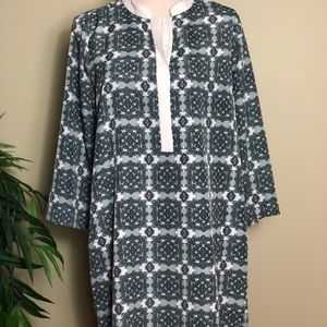 J Crew Factory Printed Tipped  Shirtdress